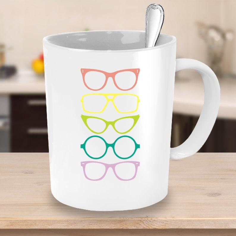 Funky Glasses Coffee Mug in Modern Rainbow Colours  image 0