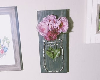 Pink Flowers in a Mason Jar // String Art // Nail Art // Farmhouse Decor