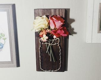 Flowers in Mason Jar // String Art // Nail Art // Farmhouse Decor