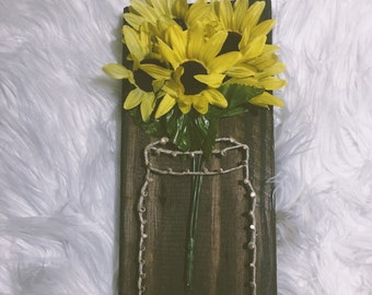 Sunflower Mason Jar String Art // Nail Art // Farmhouse Decor