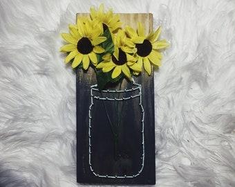 Sunflowers in a Mason Jar // String Art // Nail Art // Farmhouse Decor