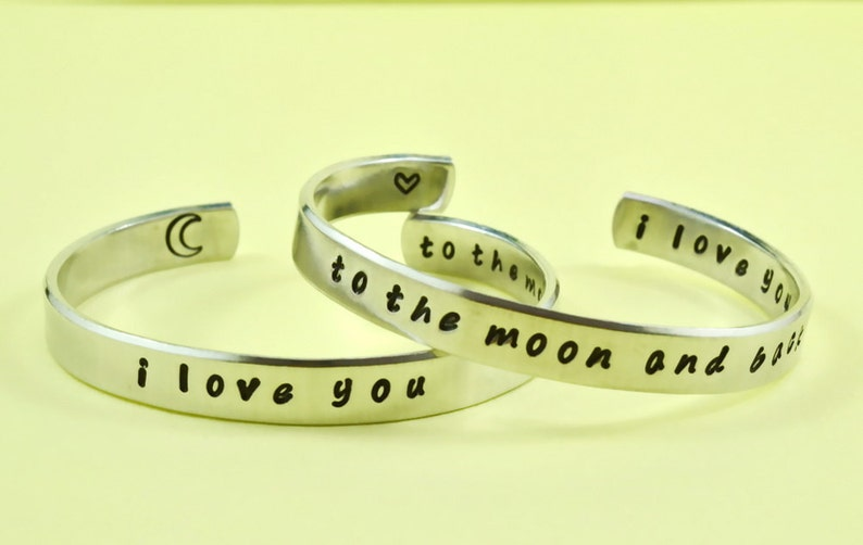 Personalized Jewelry i love you to the moon and back Mother Daughter Bracelets Hand Stamped  Aluminum Cuff Bracelets Set of 2