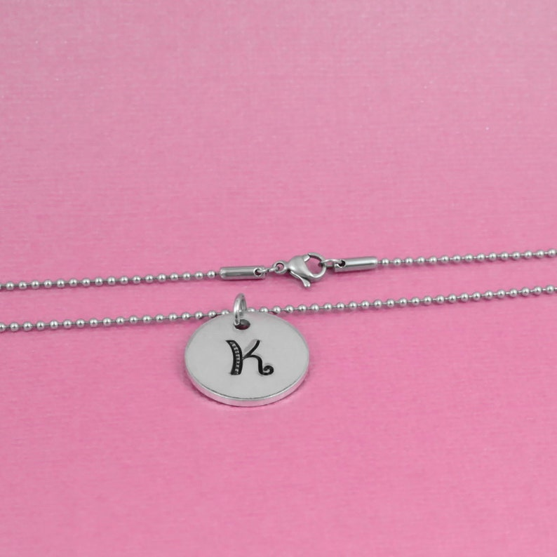 Hand Stamped Initial Letter Necklace Aluminum Disc Mother Daughter Sisters Best Friends BFF Gift CUSTOM Stainless Steel Ball Chain