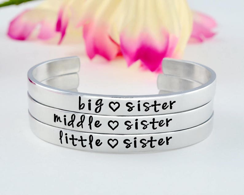 4a654e052d1 Big Middle Little Sister Hand Stamped Three Sisters Cuff | Etsy