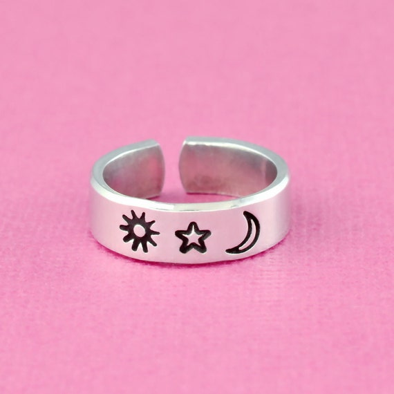 My Sun And Stars Moon Of My Life Ring Hand Stamped Aluminum