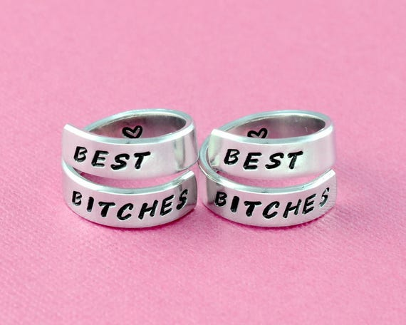 ce79796e99459 Best Bitches- Hand Stamped Aluminum Spiral Wrap Ring Set of 2, Best Friends  BFF Besties Rings, Soul Sisters Friendship Personalized Gift