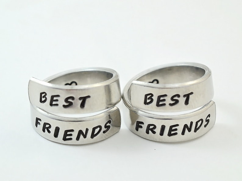 b754004919750 Best Friends - Hand Stamped Spiral Wrap Ring Set, Best Friends BFF Sorority  Sisters Friendship Jewelry, Personalized Gift