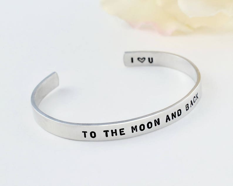 Mom Daughter Sisters Best Friends BFF Couples Lovers Personalized Gift Hand Stamped Aluminum Bracelet I Love You To The Moon And Back