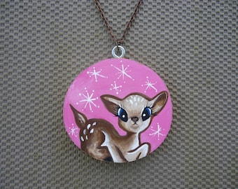 Hand Painted Deer Necklace