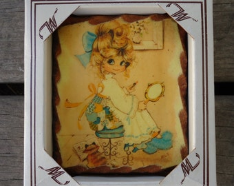 Wooden Wall Plaque Girl with Yellow Kitten