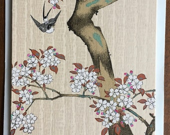 """12-color Japanese handprinted vintage woodblock: one greeting card with phoenix watermark rice paper insert, suitable for framing, 8.5x4"""""""
