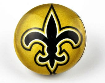 New Orleans Saints Snap Button Charm-Qty: 1- Charm Attachment Included