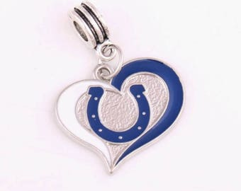 Indianapolis Colts Heart Charm, Sports Charms, Pro Football Charm, Indianapolis Colts Charm, Colts, Colts Jewelry, Indianapolis Colts-Qty:1
