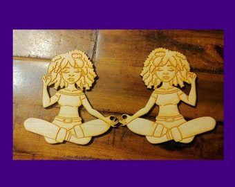Powerful Inner Peace-DIY Black Girl Magic Wood Cut Outs-Unfinshed Afro Wood Blanks-Unfinished afrocentric Wood Blanks-Qty:1 set (2 pieces)