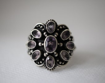 099b233a4 Vintage Sterling Silver Purple Stone Large Face Ring - ATI 925 Indonesia -  Sz 6