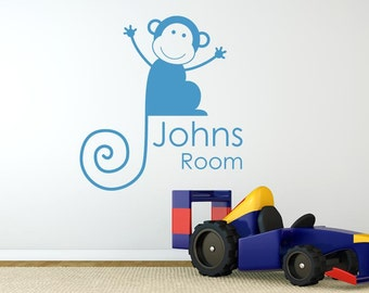 Personalised Monkey Boys Room Sign Wall Sticker