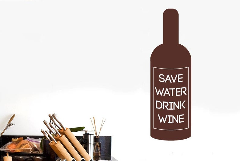 Save Water Drink Wine Bottle Label Wall Sticker