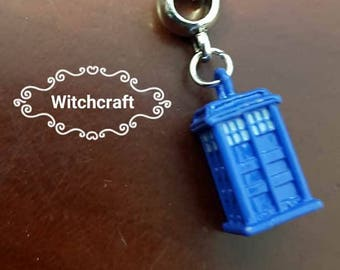 Small blue police box necklace