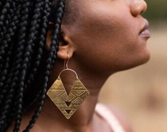 Double Triangle Aztec Brass Earring / 14K Gold / Brass Earrings / Boho Earrings / Festival Jewelry / Tribal Jewelry / Women's Jewelry