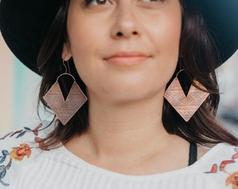 Aztec Patinated Copper Earrings / 14K Gold / Etched Copper Earrings / Boho Jewelry / Festival Jewelry / Tribal Jewelry / Women's Jewelry