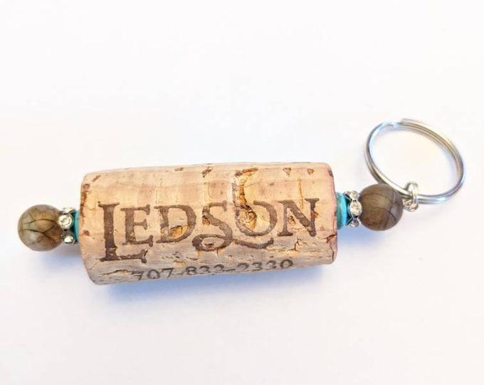 Wine cork keychain, beaded cork keychain, gift