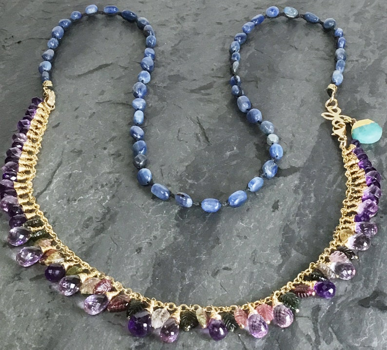 Gifts For Her Gemstone Necklace Blue Kyanite Long Gold Necklace with Multi-Tourmaline Pink and Purple Amethyst Fringe Statement Necklace