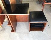 Mid Century Modern Walnut Folding Compact Vanity Desk Storage Cabinet. FREE Continental Us Shipping