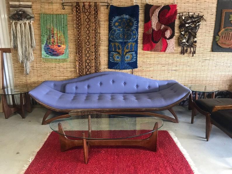 Fine Stunning Mid Century Modern Gondola Sofa With Walnut Trim And Legs By Carson Of California Circa 1960S Free Us Shipping Machost Co Dining Chair Design Ideas Machostcouk