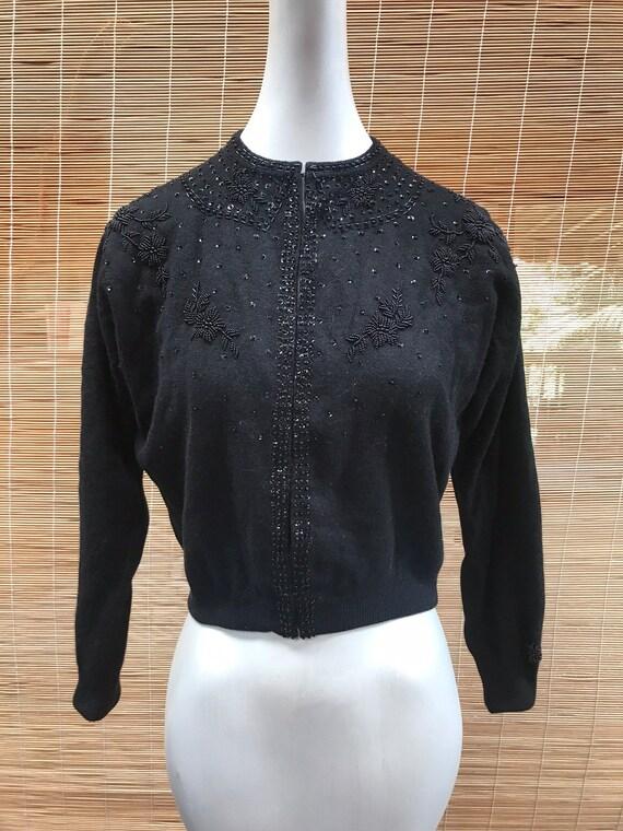 Vintage 50's Sweatergirl PinUp Beaded Cardigan Swe