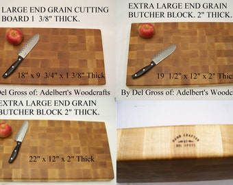 "Extra Large Hard Maple End Grain Cutting Board-Butcher Block, Your Choice of 3 Sizes up to 2"" Thick For Sale."