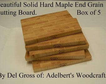 Beautiful Solid Hard Maple End Grain Cutting Board. Box of 5 Shipped by priority mail 2 to 3 days delivery.