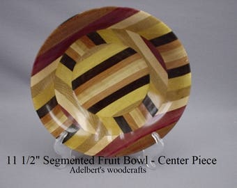 "11  1/2"" Semented Wooden Bowl. Mixed woods of the world. Fruit bowl, Center piece, Bandsaw boul."