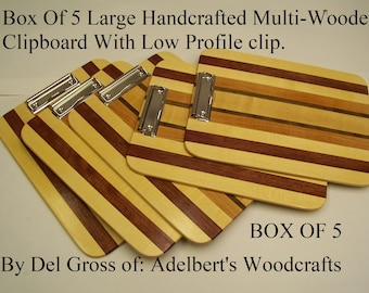Box Of 5 Large Handcrafted Multi-Wooden Clipboard With Low Profile clip.  Great for office, school or sports. Shipped by priority mail.