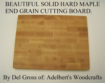 "Solid Hard Rock Maple End Grain Cutting Board 12"" x 9"" x 1"" Thick Pattern."
