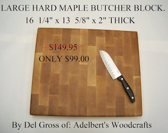 Beautiful Extra Large Solid Hard Maple End Grain Cutting Board Butcher Block.