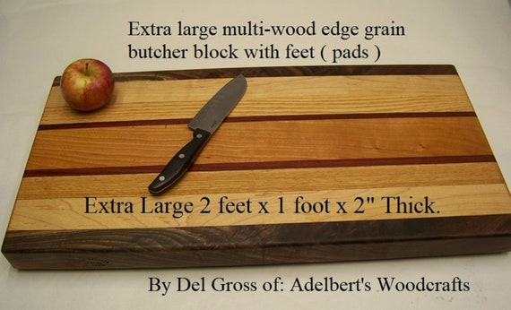 "Extra large multi-wood edge grain butcher block 24"" x 12"" x 2"" thick with pads. Shipped by priority mail 2 to 3 delivery."