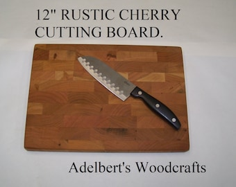 """12"""" Rustic Cherry End Grain Cutting Boards For Sale. Great Gift. Hand Made in the USA."""