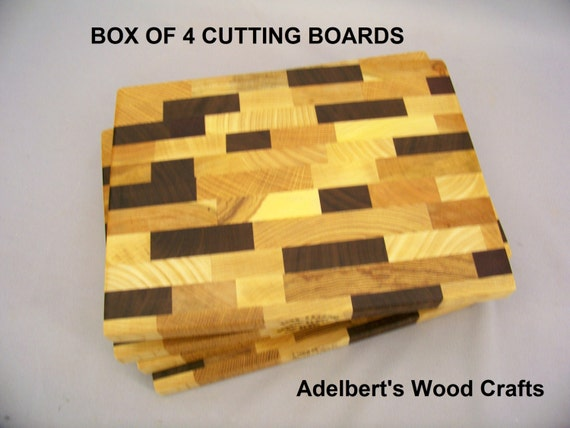 """Multi Wood End Grain Cutting Board. 8.5"""" x 11""""  Box of 4. Shipped by priority mail 2 to 3 days delivery."""
