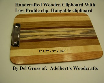 Handcrafted Wooden Clipboard With Low Profile clip. Hangable clipboard Great for office, school, sports, Restaurant clipboard menu holder.