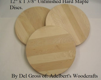 """Round Hard Maple Cutting Board 12"""" in Dia. 1 3/8"""" Thick. Stock Shipped Priority Mail in USA."""