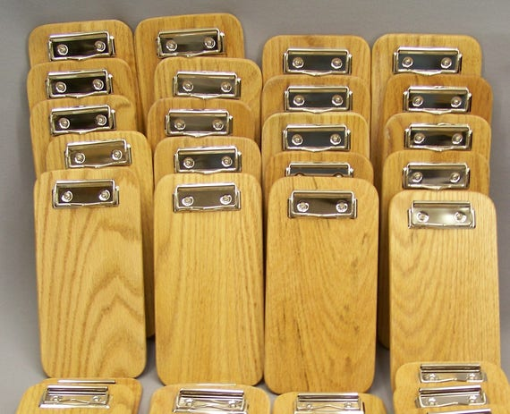 25 Small Solid Oak Clipboard, Memo Clipboard, Check Holders, Check Presenter. Box of 25 clipboards.  USA. FREE SHIPPING Priority Mail.
