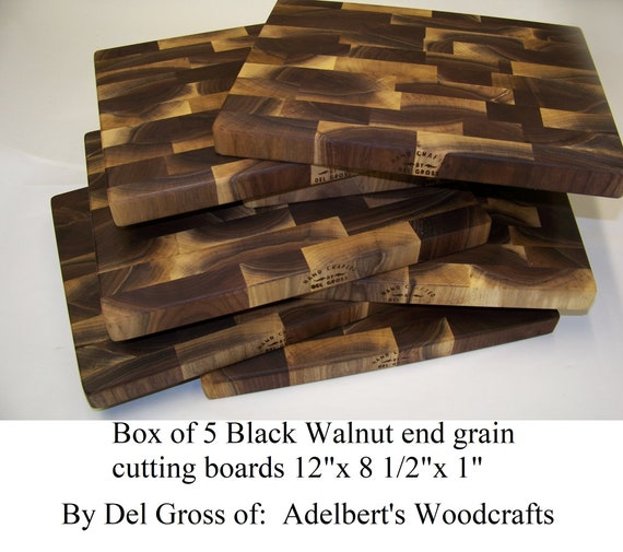 "5 Rustic Black Walnut End Grain Cutting Boards 12""x 8.5"" For Sale. Made of natural unsteamed Black Walnut lumber. Shipped priority 2-3 days."
