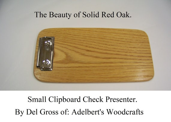 Small Wooden Clipboard, Memo Clipboard,  Restaurants, Check Presenter, Solid Red Oak Handcrafted. Free Shipping.