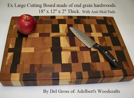 Ex Large Cutting Board made of end grain Multi hardwoods. Free Shipping USA.