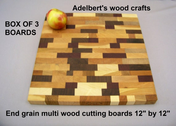 """End grain multi wooden cutting boards box of 3 - 12"""" x 12"""" x 1""""  +  Free 2 oz BottLe of Conditioner"""