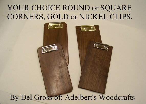 Small Wooden Clipboard, Restaurant Check Presenter, Solid Black Walnut, Choose Round or Square Corners, Nickel or Gold Clips Handcrafted USA