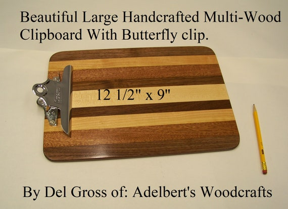 Beautiful Large Handcrafted Multi-Wood Clipboard With Butterfly clip.  Great for office, school or sports.