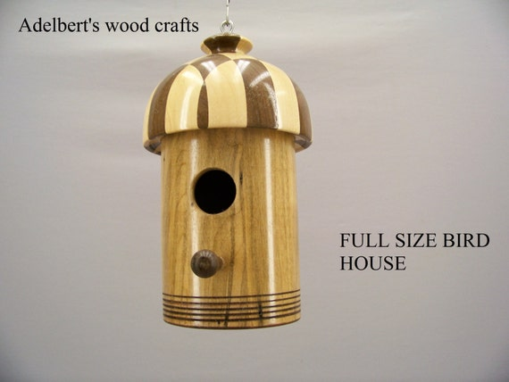 Bird House, Beautiful segmented full size lathe turned bird house. Hand crafted in the USA.