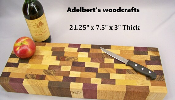 """buffet cutting board butcher block 2 1/2"""" thick. Shipped by priority mail 2 to 3 days delivery."""