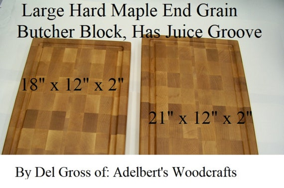 Extra Large Hard Maple End Grain Cutting Board-Butcher Block With Juice Groove For Sale, Your Choice of 2 Sizes  USA.